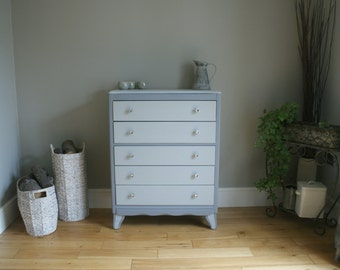 Vintage Lebus Tall Chest of Drawers - Painted Grey