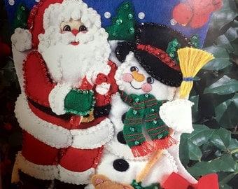 Vintage Bucilla Santa and Snowman Felt Christmas Stocking
