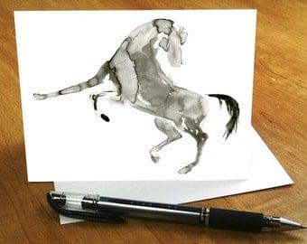 Horse Card, Horse Greeting Card, Watercolor Horse Card, Horse Birthday Card, Abstract Horse Greeting Card, Horse Thank You Card Horse Lover