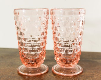 Set of 2 Whitehall Indiana Glass Company - Pink Cubist Ice Tea / Water Glasses - Footed Tumblers, Vintage Geometric Goblets  - Heavy Glass
