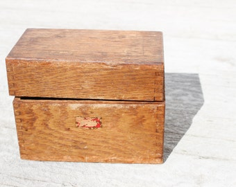 Small Wood Box, Recipe Box - Card Box