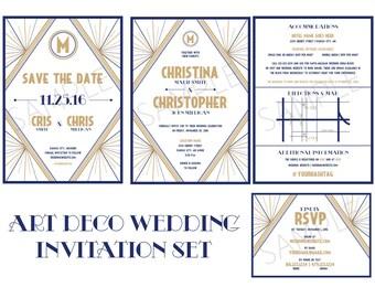 Custom Art Deco Wedding Invitation & Save The Date Set   Digital Printable