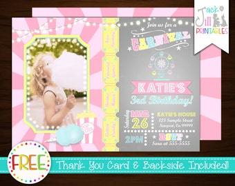 Carnival Invitation, Carnival Birthday, Circus, Big Top, Ticket, Fair, Pink Carnival, Ferris Wheel, Photo Invite +FREE Thank You Card!