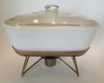 Atomic Vintage Triangle Chafing Baking Dish with Stand