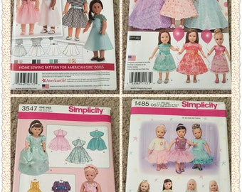 18 inches doll clothes pattern , AG doll pattern ,sewing pattern , New Uncut Pattern , sewing supplies ,simplicity patterns