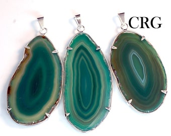 Green Agate Slice in Silver Plated Prong Setting Pendant (AG19BT)