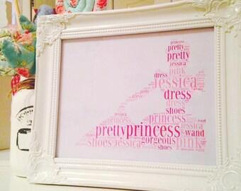 Personalised Princess framed print.