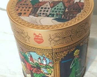 E. Otto Schmidt Cylindrical Gold Tin, 8500 Nurnberg Scene, Schmidt Canister, Collectable Schmidt, Schmid, Authentic Schmidt Tin