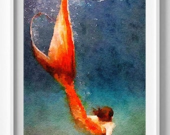 Mermaid art print Watercolor Painting Wall Art Giclee Home Decor [No 2]
