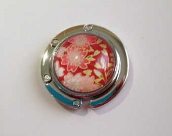 Foldable Purse Hook, Portable Handbag Hanger with Japanese Chiyogami Paper, Floating Cherry Blossoms on Red