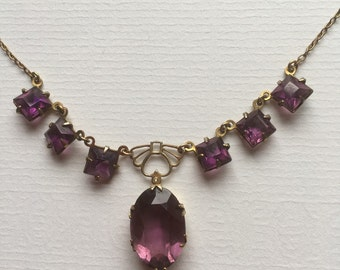 Vintage Art Deco Simulated Amethyst Glass Necklace With Metal Open Work Panel Gold Tone 1930s Costume Jewelry
