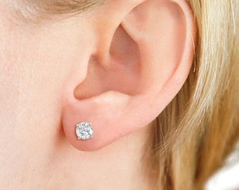 3 carats man made diamond flawless brilliant cut round stud platinum earrings