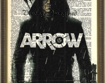 Arrow art print on  upcycled vintage dictionary page 8x10