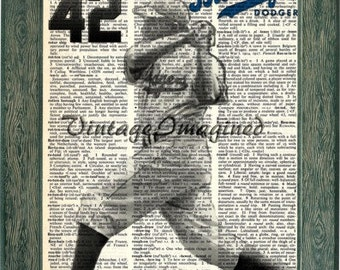 Brooklyn Dodgers Jackie Robinson dictionary art print 8x10, on  upcycled vintage dictionary page 8x10
