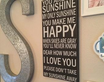 You Are My Sunshine wall art,Nursery wall decor,wall decor,Lullaby Art,wood sign nursery wall decor,Rustic Nursery, Distressed sign