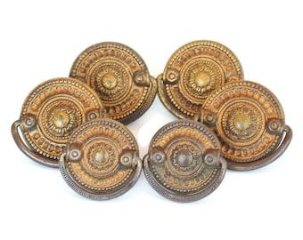 Vintage Hepplewhite Medallion Pulls Set of 6