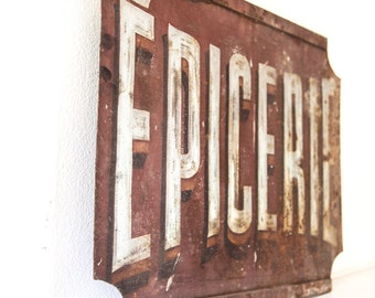 "Rare: 1940s French Double Sided Cast Iron Retail Sign - Epicerie / Grocery Country Store  - 29"" x 20"" - Free Shipping Within the USA"