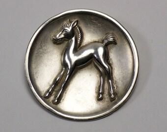 Vintage Art Deco silver plated foal brooch