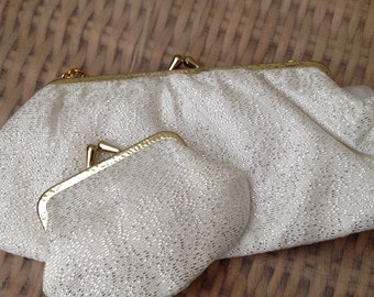 1960's Cream Gold Flecked Evening Bag With Purse