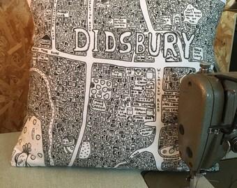 Didsbury Doodle Map Cushion