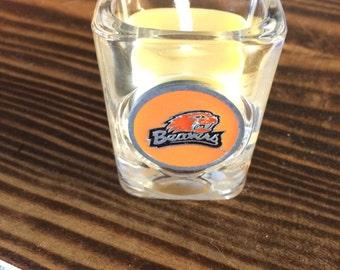 Shot glass candle - Oregon State University Beaver