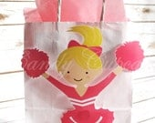 PINK CHEERLEADER PARTY Bag, Goody Bag, Favour Bag with Tissue Paper, Cheerleader Gift Bag, Cheerleader Party