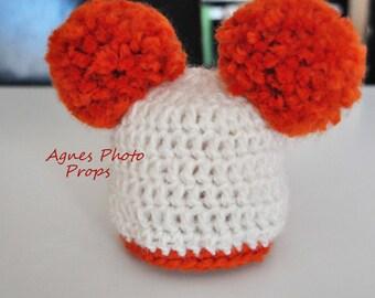 newborn fluffy double pom pom hat mohair&acrylic
