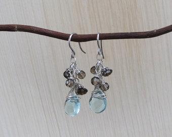 Blue Quartz and Smokey Quartz Earrings