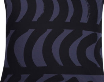Marimekko black gray Rautasanky pillow case, Maija Isola design, Finland