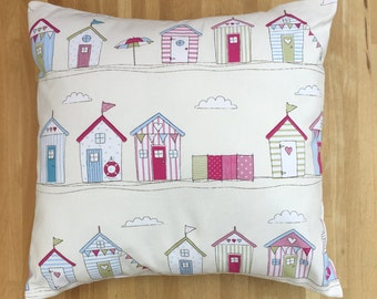 Pink Beach Hut Cushion Cover