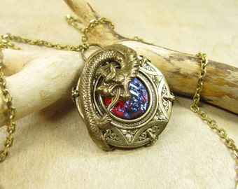 Dragon amulet, necklace with pendant necklace brass bronze, Dragon's breath dragon breath Red Blue Dragon mystical magical amulet necklace