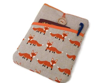 iPad Pro  9.7 Sleeve / Linen iPad Air 2 Sleeve case / Padded  iPad Pro 12.9 pouch / ipad mini 1 2 3 4 case purse, Foxes Pocket