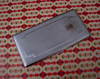 Vintage art deco style silver tone cigarette case - Har Bro - made in England
