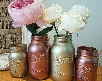 Metallic Gold & Rose Gold Mason Ball Jars. Set of 4 - Perfect for Weddings/ Home Decor/Outdoor/Centrepieces
