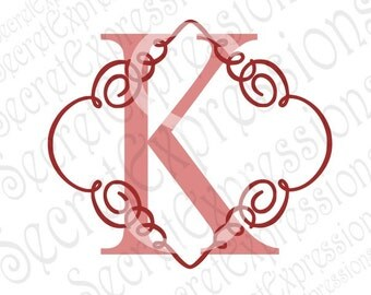K Initial Swirl Svg,  K Initial Svg, Monogram Svg, Digital Cutting File, Eps, Png, JPEG, Dxf, Svg Cricut, Svg Silhouette, Print File