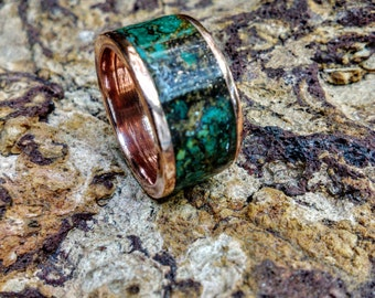 Marbled Copper Ring Band.  2mm X 10mm Thick and Wide.