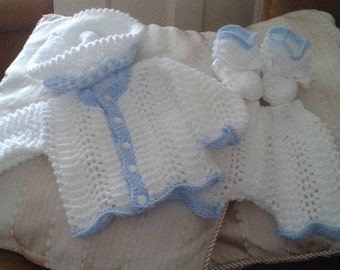 Baby Knitting patterns 'Little Bill' Cardi, Trousers/Shorts and Hat with matching Booties from birth to 6mths