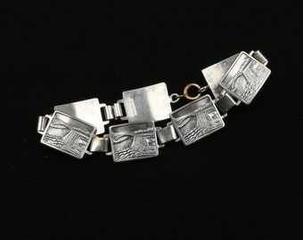 "1960's Made in Holland, Silver Plate Souvenir Waterfall Plaque Link Bracelet, Great Condition, 7-3/4"" Long, 9/16"" Wide."