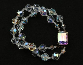 1950's Glamorous Aurora Borealis Double Strand Faceted Glass Bead Bracelet w Square Box Clasp w AB Plastic Crystal, Glass Beads.
