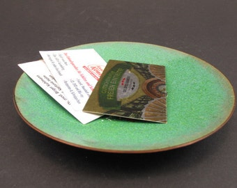 SALE Vintage enamel ring dish ring plate jewelry dish East German GDR business card plate green