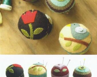 Felted wool Folk Art Pincushions pattern - a Rose Marie Dammonn design for Indygo Junction #IJ936 (2012)  K0461
