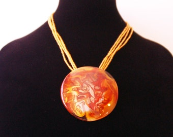 Murano Glass Amber Gold Necklace Pendant with Conteria Beads Handmade