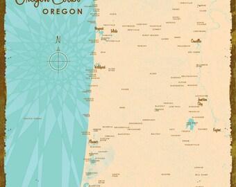 Central Oregon Coast Map - Metal Sign