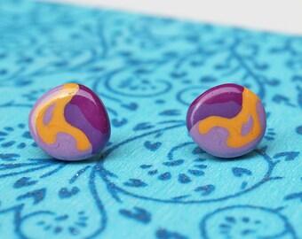 Purple Ear Studs - Handmade Artisan Polymer Clay Studs  - Abstract Round Earrings