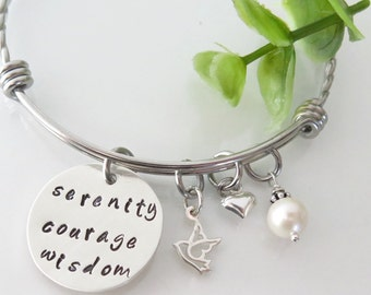 Serenity Prayer Bracelet - Inspirational Jewelry - Recovery Bracelet - Hand Stamped Serenity Prayer Jewelry - Serenity Courage Wisdom