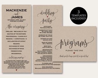 Ceremony Programs Program Template Wedding Printable In Loving