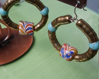 copper,turquoise,African Trade feature bead