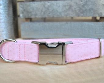 Baby Pink Dog Collar, Light Pink Pet Collar with Metallic Polka Dots, Metallic Pink, Silver Metal Buckle, Female, Girl