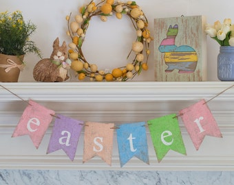 Spring Easter Banner, Easter Burlap Banner, Easter Decor, Easter Garland, Easter Sign, B290