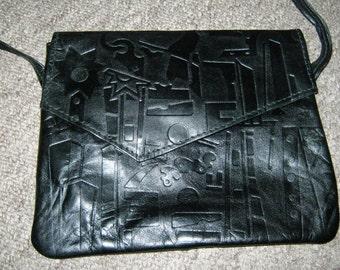 80's Black Leather mini bag